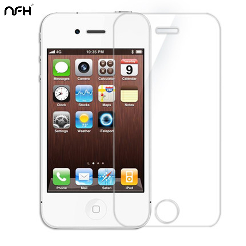 NFH Amazing 9H Hard Tempered Glass For iPhone 4 4S 0.3mm 2.5 Arc Explosion-Proof Screen Protection Film Case On 4 4 S 4S