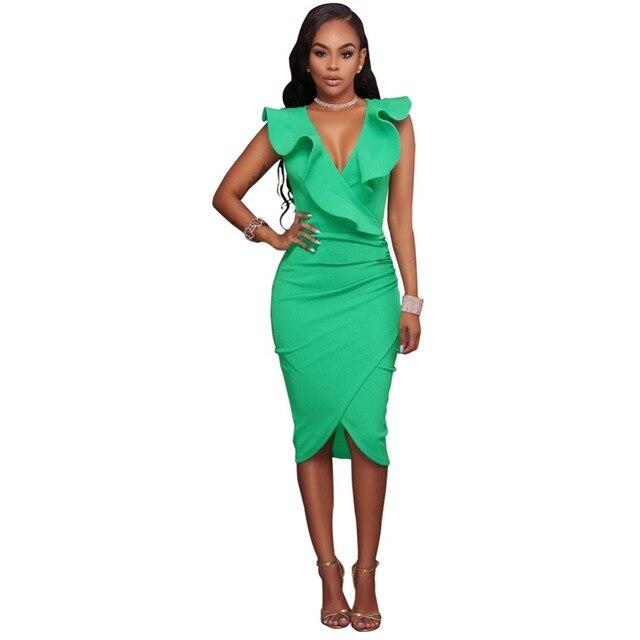 7311b66fcfb Sexy Slim Bodycon Dress Women Midi Dress Ruffled V Neck Sleeveless  Asymmetric Solid Ruched Night Clubwear