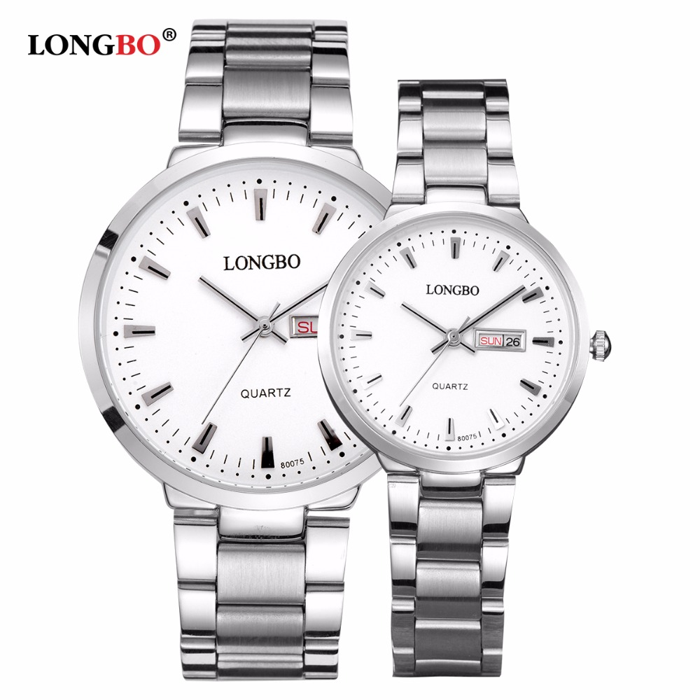 2018 Longbo Luxury Lovers Couple Watches Men Date Day Waterproof Women Gold Stainless Steel Quartz Wristwatch Montre Homme