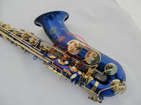 Customized France Henri Selmer 80B flat tenor saxophone Gold Lacquer Blue saxophone   Musical     Instrument   Professional Free