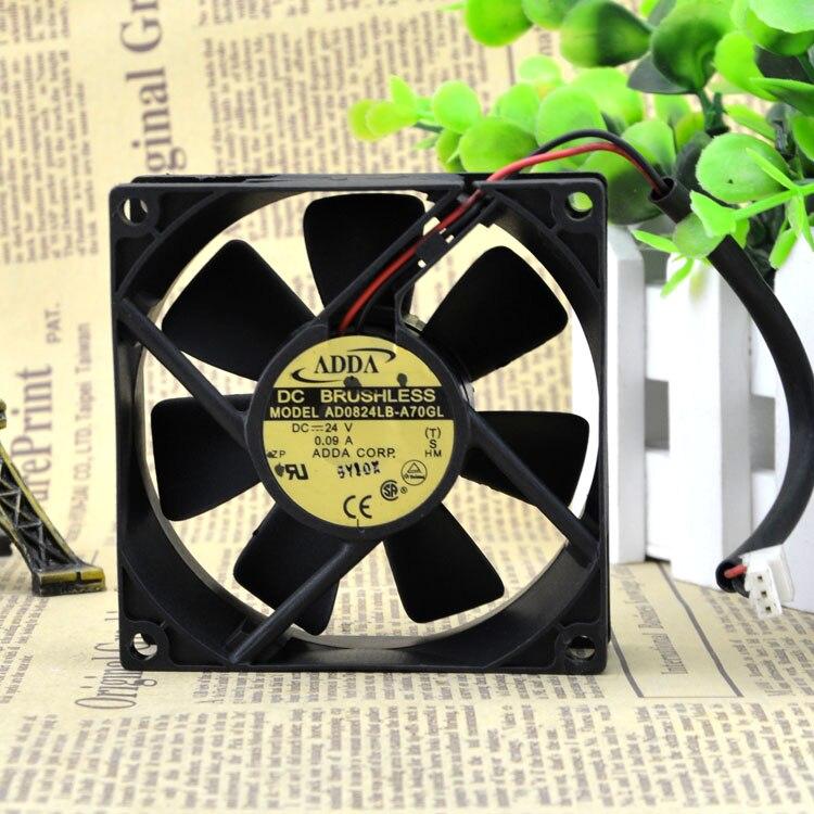 2 pcs ADDA AD0824LB-A70GL DC 24V 0.09A 8cm 8025 80x80x25mm server axial cooling cooler fan