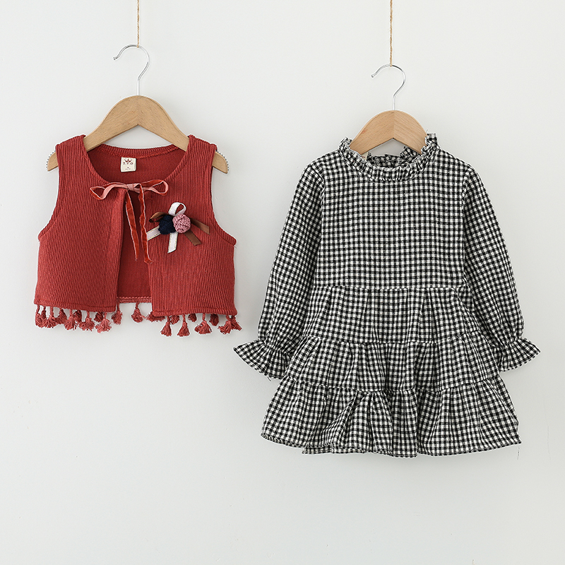 2017 baby girls clothes casual toddler girls tassel vest+plaid dress 2pcs set baby clothing Autumn Long-sleeved children sets