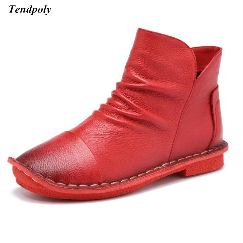 2018 The new spring autumn size (35-40) all-match leisure female Women's boots hot head layer cowhide round flat casual shoes irst layer of cowhide handsome female ankle boots fashion boots pull style all match elegant 6 8 5