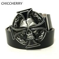 Western Cowboy Skull Keltic Cross Belt Buckle Metal Brand Luxury Mens Designer Pu Leather Belts For