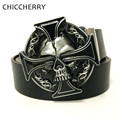 Western Cowboy Skull Keltic Cross Belt Buckle Metal Brand Luxury Mens Designer Pu Leather Belts For Men Jeans Cinturones Hombre