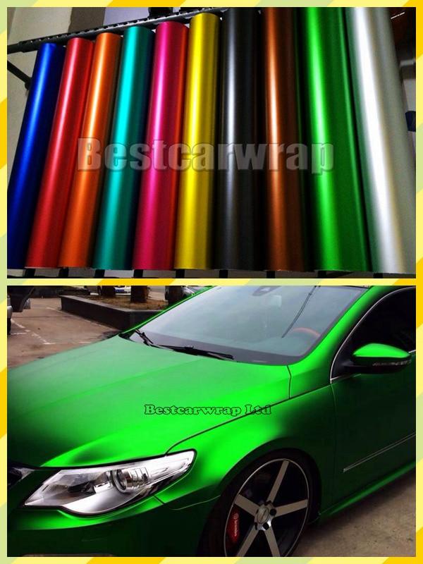 16 Colors  ICE Satin Chrome Car Wrap Vinyl Film Air Bubble Free Matte Chrome  Covering Foil PROTWRAPS  Size  1.52*20m 5x67ft
