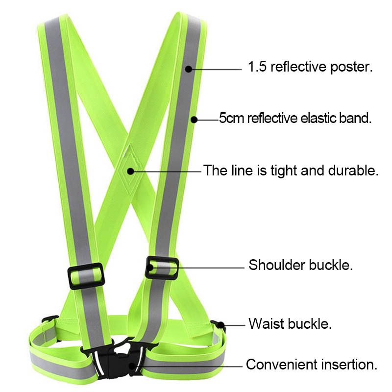 Hot Sale Safety High Visibility Reflection Vest Waistcoat Outdoor Running Fluorescent Cycling Vest Belt Reflective Material FC