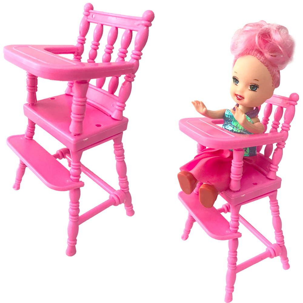 NK 1 Pcs Mini Doll Furniture Dinner Room Kindergarten High Chair For Barbie Doll Sister Kelly 1:12 Doll Dollhouse Accessories DZ