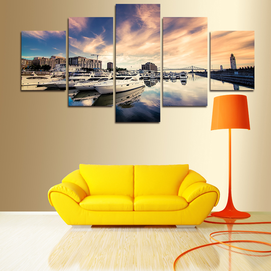 Canvas Painting on Sale 2017 New 5 Pics/set Sea And Ship Big Size Wall Art Home Decor Modern Landscape Picture for Living Room
