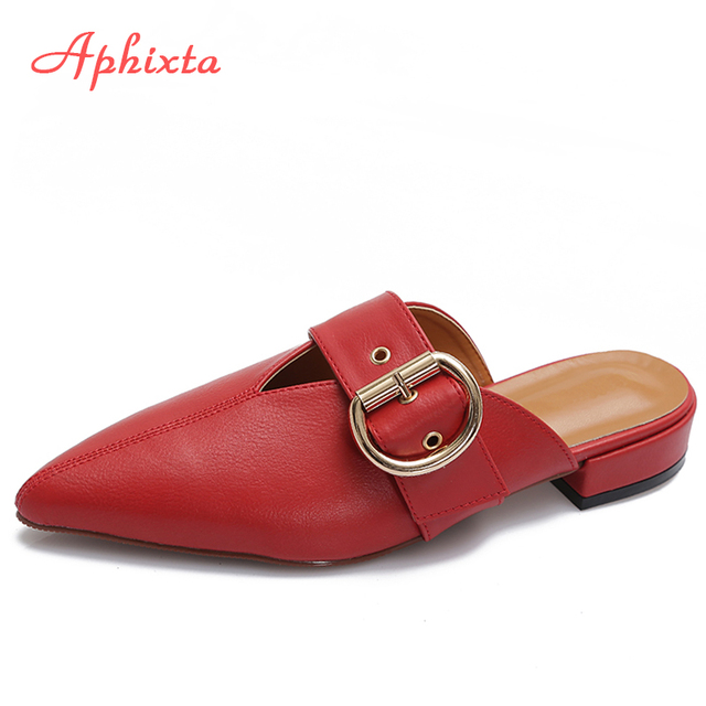 645e2812728774 Aphixta Pointed Toe Luxury Mules Buckle Lamb Skin Texture Soft Women  Slippers Flat With Solid Fashion Summer Slides Size 35-43
