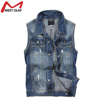 Men Vest Denim Vests Coat Male Hole Sleeveless Jean Jacket Hole Jeans Waistcoat Plus Size YL731