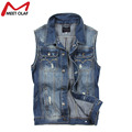 Men Vest Denim Vests Coat Male Hole Sleeveless Jean Jacket Hole Jeans Waistcoat Plus Size YL731