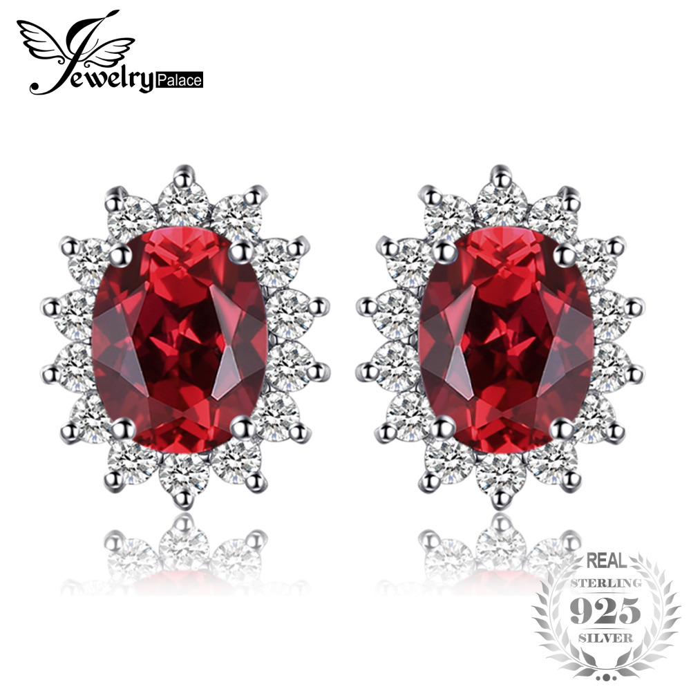JewelryPalace Princess Diana William Kate Middletons 1.3ct Natural Garnet Halo Stud Earrings Solid 925 Sterling Silver JewelryJewelryPalace Princess Diana William Kate Middletons 1.3ct Natural Garnet Halo Stud Earrings Solid 925 Sterling Silver Jewelry