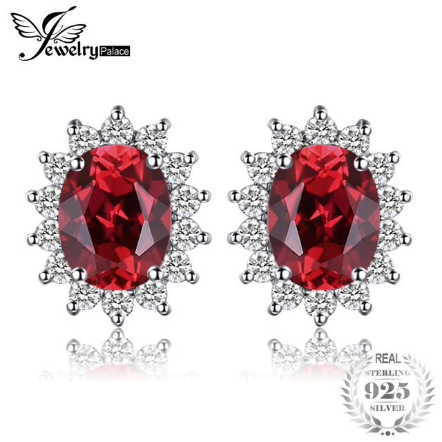 JewelryPalace Princess Diana William Kate Middleton's 1.3ct Natural Garnet Halo Stud Earrings Solid 925 Sterling Silver Jewelry