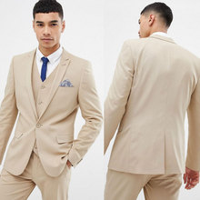 Latest Designs Khaki Men Suits for Wedding Business Man Blazers Groom Tuxedos Terno Masculino Slim Fit Costume Homme 3Piece