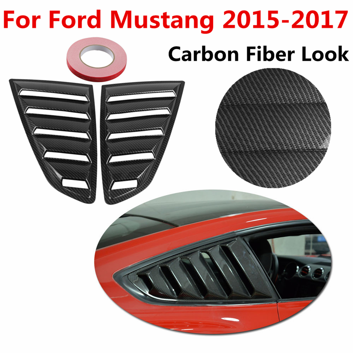 1Pair Carbon Fiber Look Style 1/4 Quarter Side Window Scoop Five Slot Open Louvers Cover Vent ABS Plastic for Mustang 2015 2017