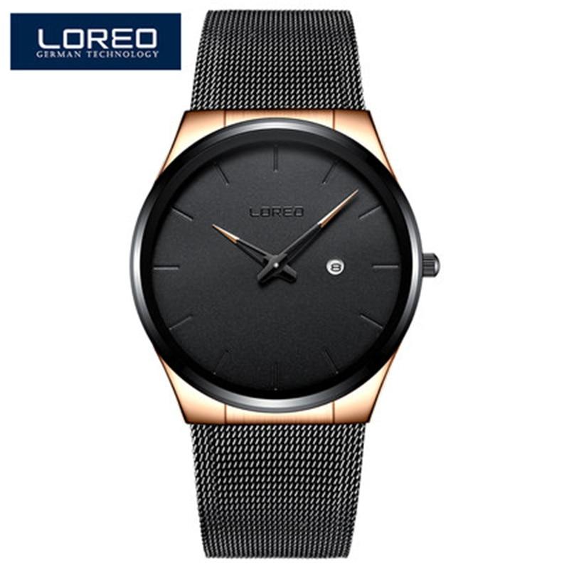 LOREO Mens Watches Business Quartz Watch Men Auto Date Steel Mesh Strap Casual Waterproof Sport Watch Relogio Masculino Q43 steel strap number quartz date watch