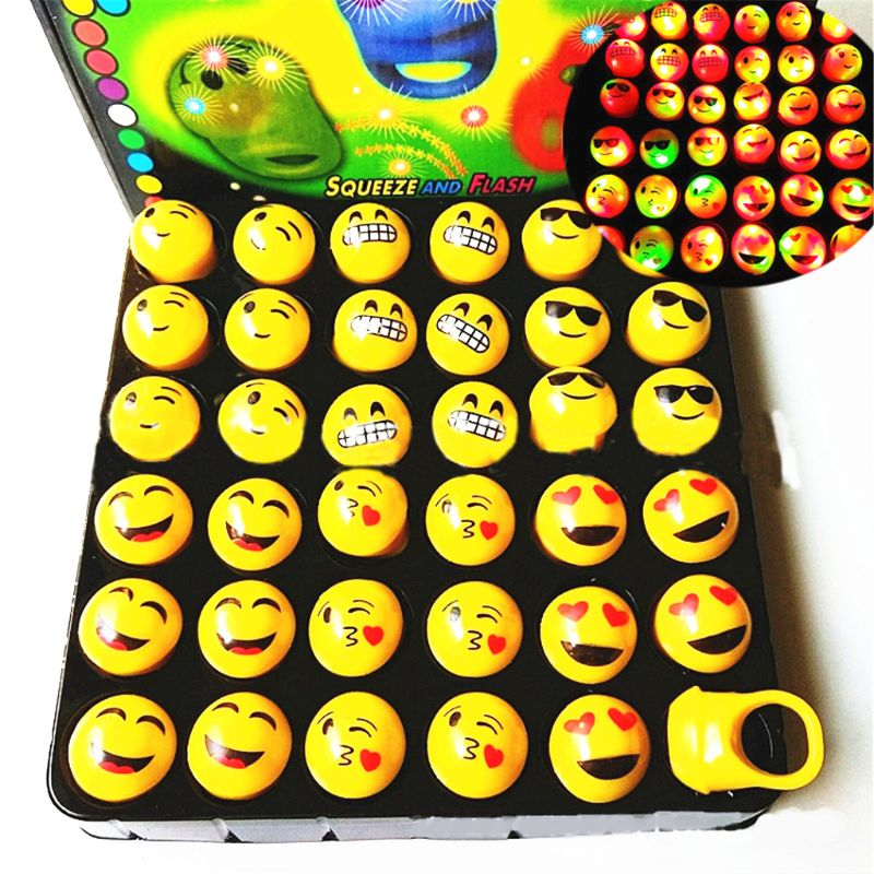 2019 Latest Design 36pcs Soft Emoji Led Rings With Gift Box Squeeze Toy Party Favors Bag Filler Kids Toy Light Up Toy Gift Superior Materials