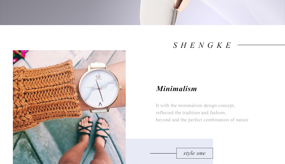 Shengke Top Brand Fashion Ladies Watches Leather Female Quartz Watch Women Thin Casual Strap Watch Reloj Mujer Marble Dial SK 20