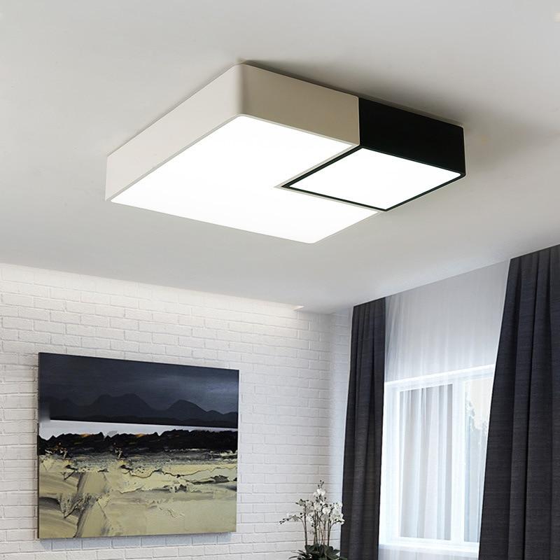 Lámparas de techo LED ultrafinas modernas de hierro negro/blanco para luces de techo para sala de estar dormitorio iluminación interior