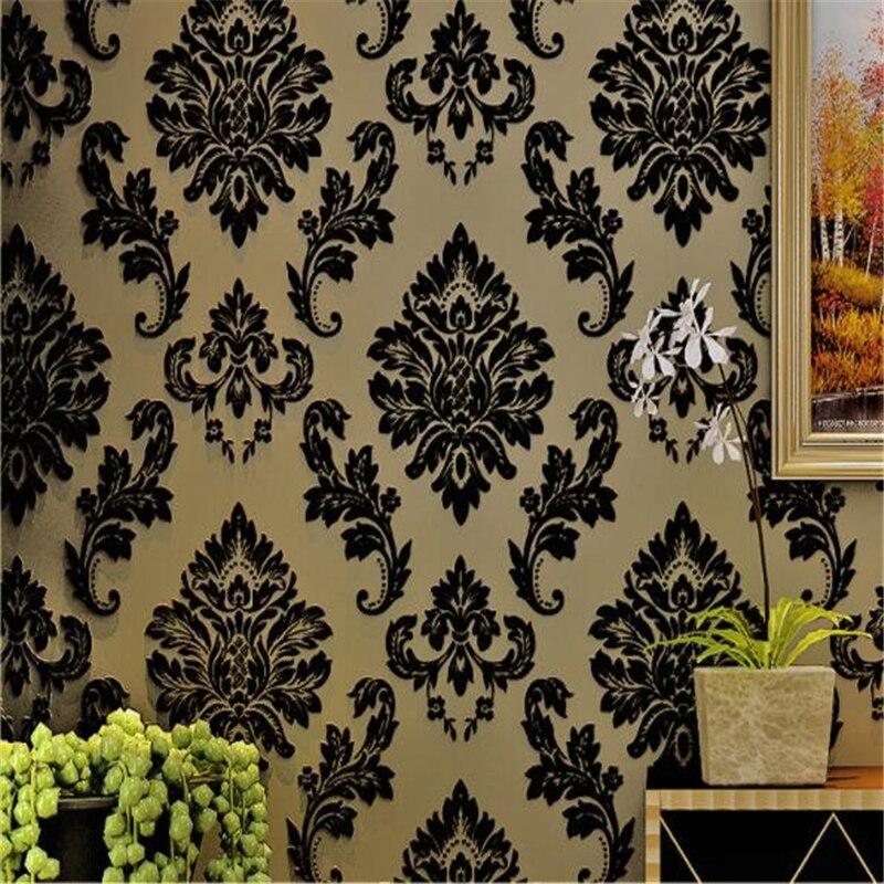 beibehang   papel pintado Black flocking wallpaper 3d stereo velvet wallpaper European non - woven living room bedroom tapety