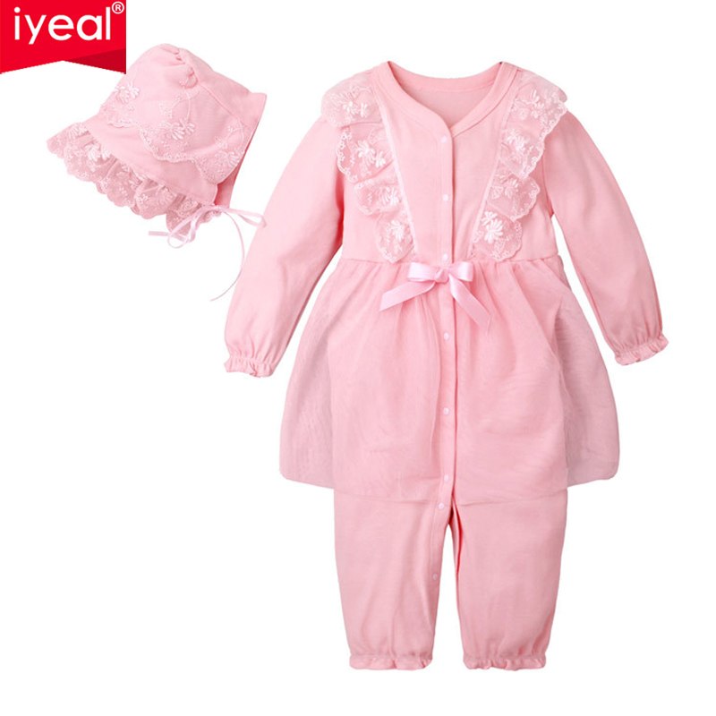 IYEAL Baby Girl Rompers With Hat Cotton Lace Flower Jumpsuit Floral Infant Clothing Princess Toddler Romper Newborn Baby Clothes 2016 princess newborn baby girl clothes infant body suits floral romper