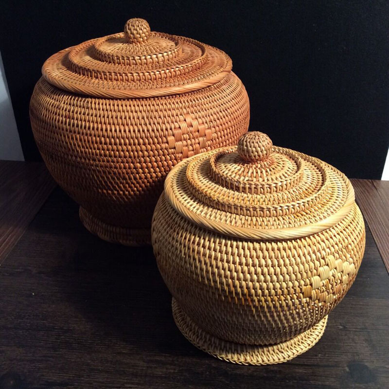 Rattan հյուսված տաճարի ձևը Puer թեյի տորթի թիթեղյա տուփով բեռնարկղով բանկա կազմակերպիչ տանկի կճուճ իրեր `կազմակերպիչ, ռաթթան զամբյուղով պահոցներ