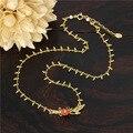 Золотой Пшеницы Красный Цветок Ожерелье Для Женщин Элегантный Симпатичные Люкс Романтический Ювелирный Бренд