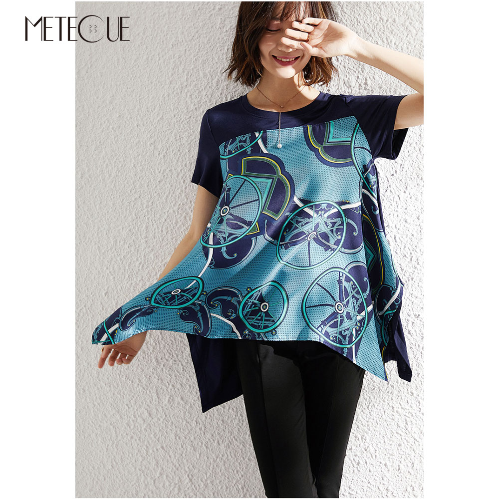Asymmetrical Silk Modal Patched Women Tee Shirt 2019 Spring Summer Fashion Printed Short Sleeve Women Tees