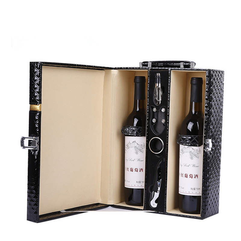 High-grade Black Double Wine Box Leather Diamond Wine Gift Box Classic Wine Bags Wine Carrier Packing Boxes with Leather ToteHigh-grade Black Double Wine Box Leather Diamond Wine Gift Box Classic Wine Bags Wine Carrier Packing Boxes with Leather Tote