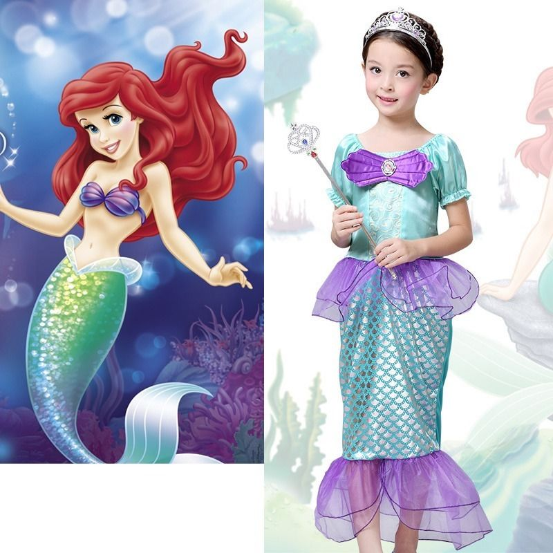 2016 New Fashion Baby Girls Little Mermaid Costume Bow Ariel Fancy Princess Cosplay Dresses Size 3-10T movie the little mermaid princess ariel costume women ariel fancy dress cosplay dress