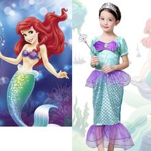 2016 New Fashion Baby Girls Little Mermaid Costume Bow Ariel Fancy Princess Cosplay Dresses Size 3-10T