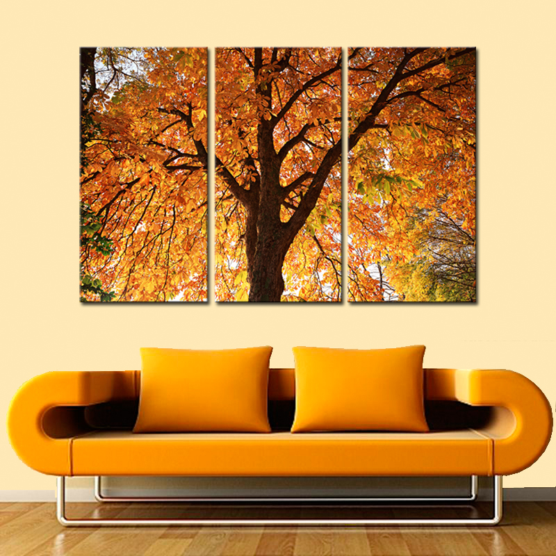Modern Landscape Leaves Painting Prints on Canvas Autumn Forest ...