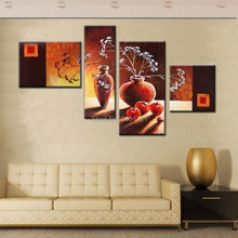 hand made 4 panels traditional still life vase flowers oil painting tawny Red-brown wall canvas picture home decoration art sets