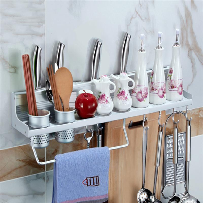 1 x soporte de pared de especias estante de cocina de aluminio utensilio  olla Pan colgador gancho olla organizador almacenamiento estante utensilios  de ... 37a970d7ec74
