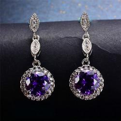 Luxury Female Pink Purple Stone Earrings Silver Color Rose Gold Round Dangle Earrings For Women Hanging Water Drop Earrings