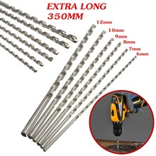 цена на Silver Drill Bit 6-12mm Diameter Mayitr Extra Long HSS Straight Shank Auger Twist Drill Bit Set 350mm Length for Electric Drills