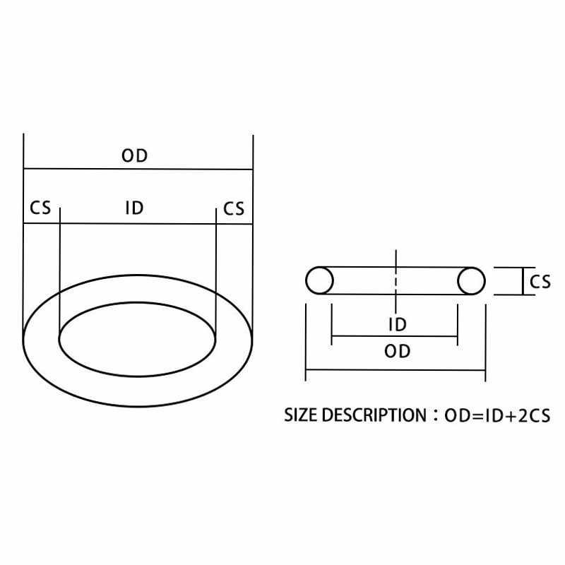 10 ชิ้น/ล็อตแหวนยาง NBR ซีล O - แหวน 1.9 มม. OD52/54/55/56/60 /62/65/70/75/80/85/90/92/95/100 มม. O แหวนซีลปะเก็นแหวนเครื่องซักผ้า