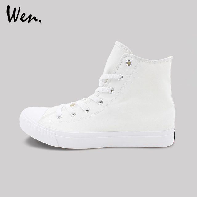 Wen White Black Casual Shoes Mens Womens Sneakers Unisex 35-49 Size High Top Canvas Shoes Flats Vulcanized Shoes Plus Size 48 49