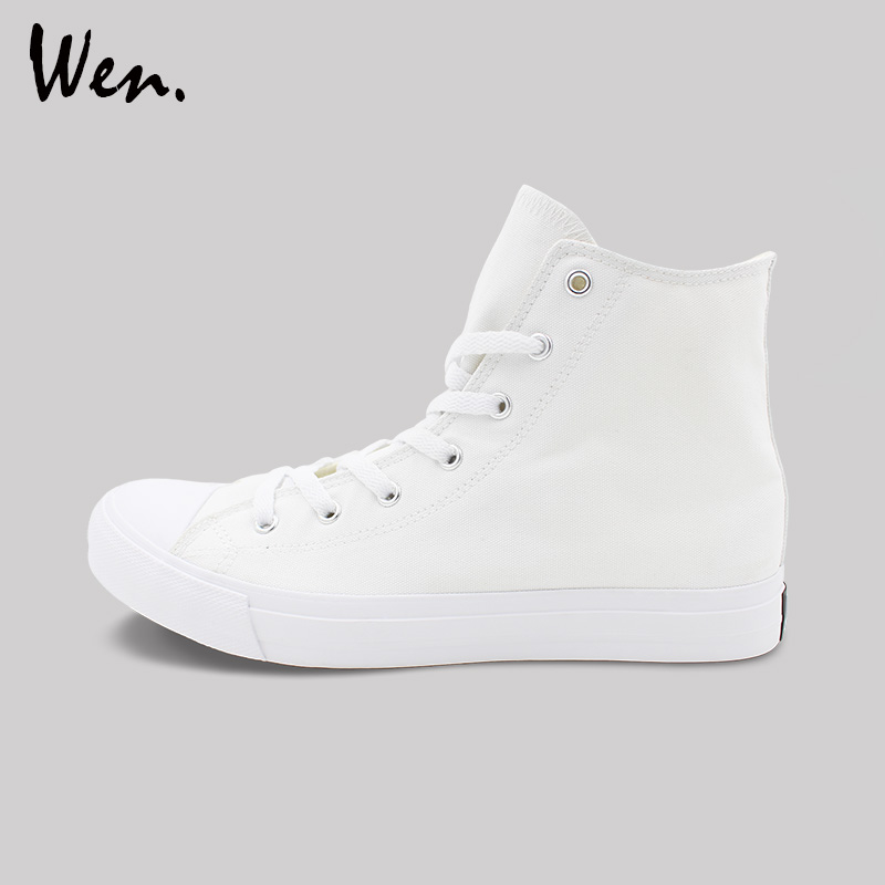 Wen White Black Casual Shoes Mens Womens Sneakers Unisex 35 49 Size High Top Canvas Shoes Flats Vulcanized Shoes Plus Size 48 49