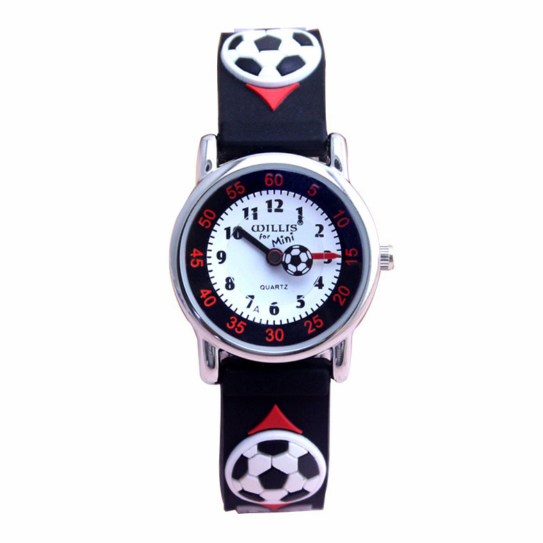 High quality waterproof kids silicone wristwatches football brand quartz wrist watch baby for for Watches brands for girl