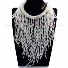 JEROLLIN Nuevo de Las Mujeres de Moda Blanco Perla Cadena de La Borla de gargantilla Declaración Colgante, Collar Babero