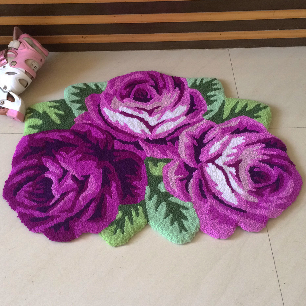 Yazi Rose Carpet Floral Handmade Embroidery Non Skid Porch Doormat