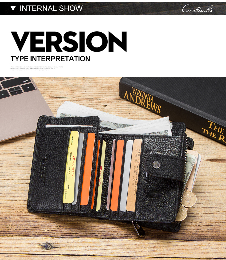 HTB11zYnQwTqK1RjSZPhq6xfOFXa5 - CONTACT'S genuine leather RFID vintage wallet men with coin pocket short wallets small zipper walet with card holders man purse
