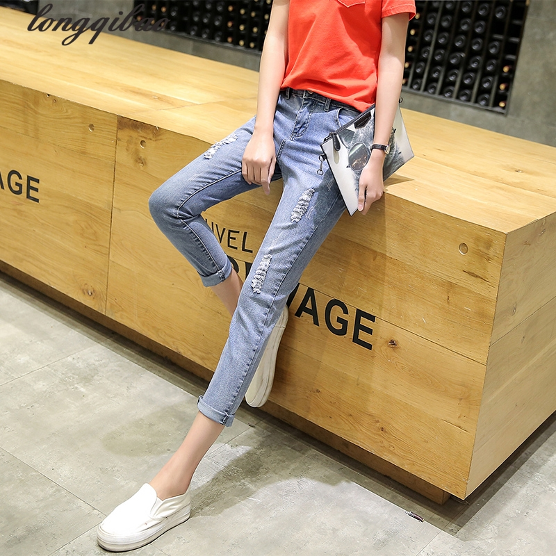 Spring and summer new Slim nine points jeans hole tight stretch pencil pants TB7517