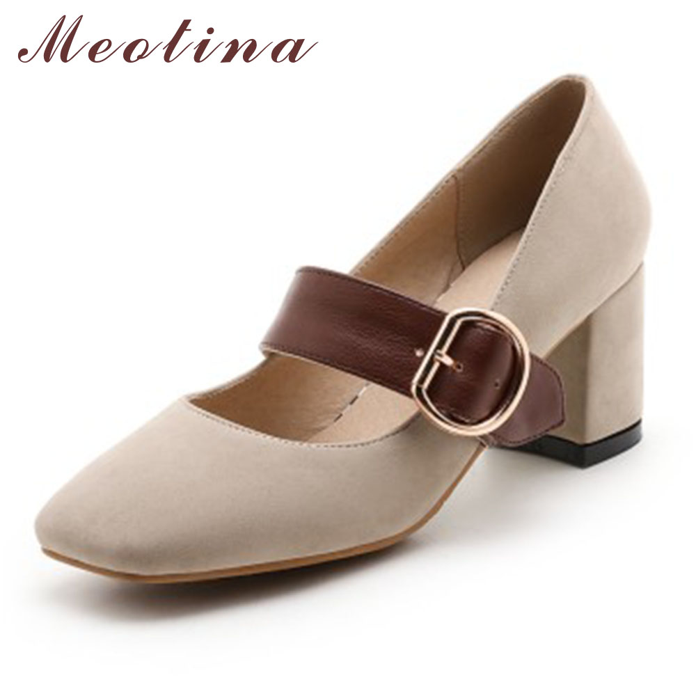 Meotina High Heels Shoes Women Mary Jane Pumps Square Toe Fashion Office Ladies Shoes Chunky High Heels Red Black Big Size 9 10 meotina high heels shoes women pumps party shoes fashion thick high heels pointed toe flock ladies shoes gray plus size 10 40 43