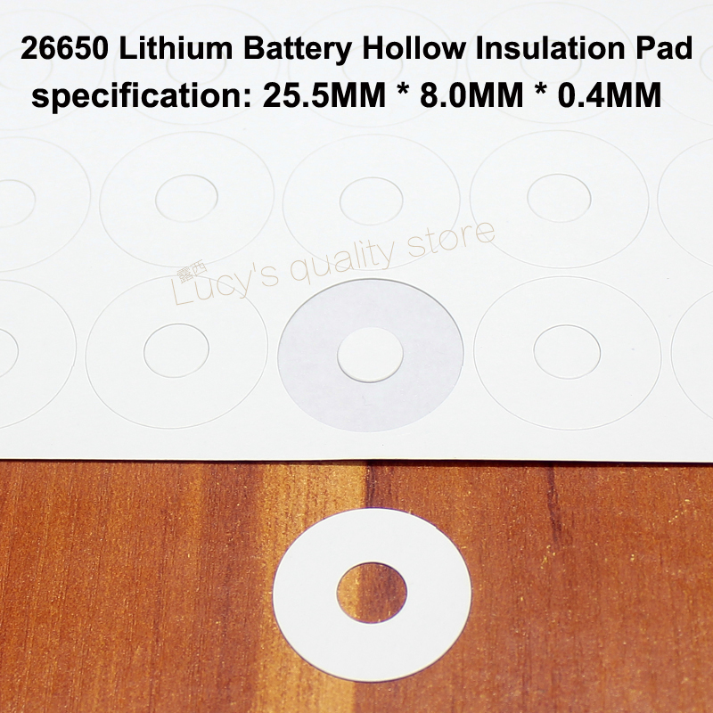 Купить с кэшбэком 100pcs/lot 26650 lithium battery positive hollow flat insulation gasket 26700 surface mat meson paper hollow surface gasket