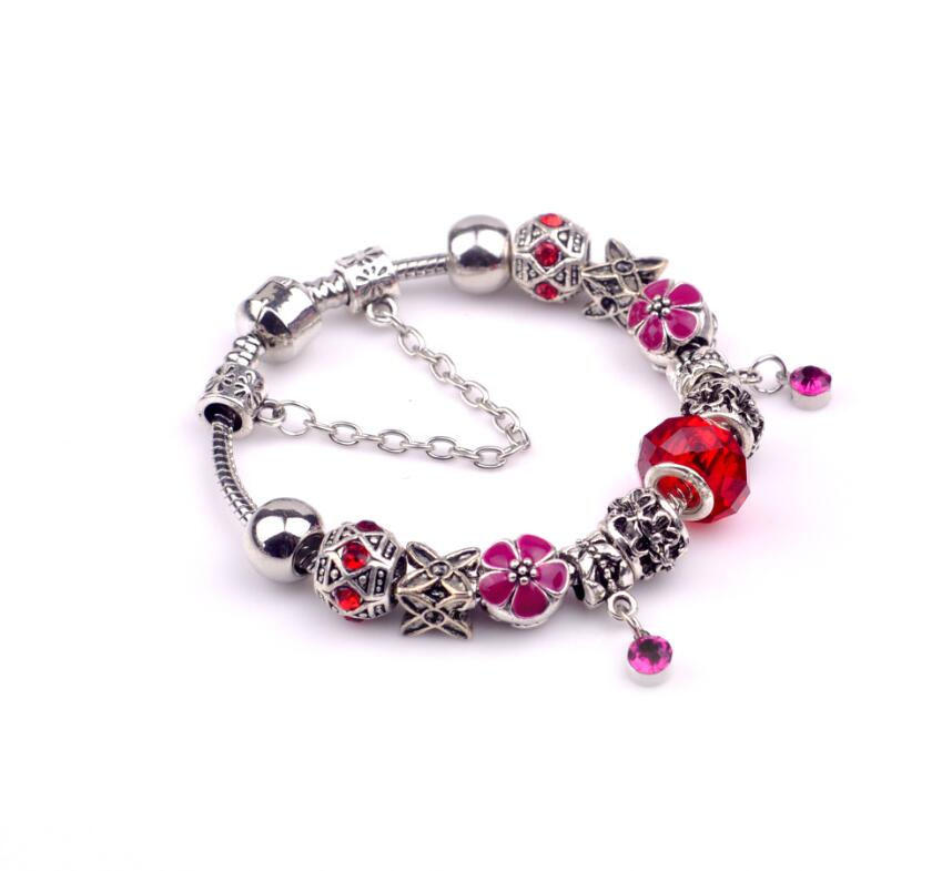 aliexpress hot sale vintage kpop crystal pendant pink flower beads christmas xmas new year gift for
