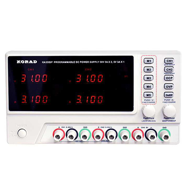 KA3305P Programmable Precision Variable Adjustable 30V 5A 3A USB RS232 Ports Digital DC Triple Linear Power Supply Lab Grade