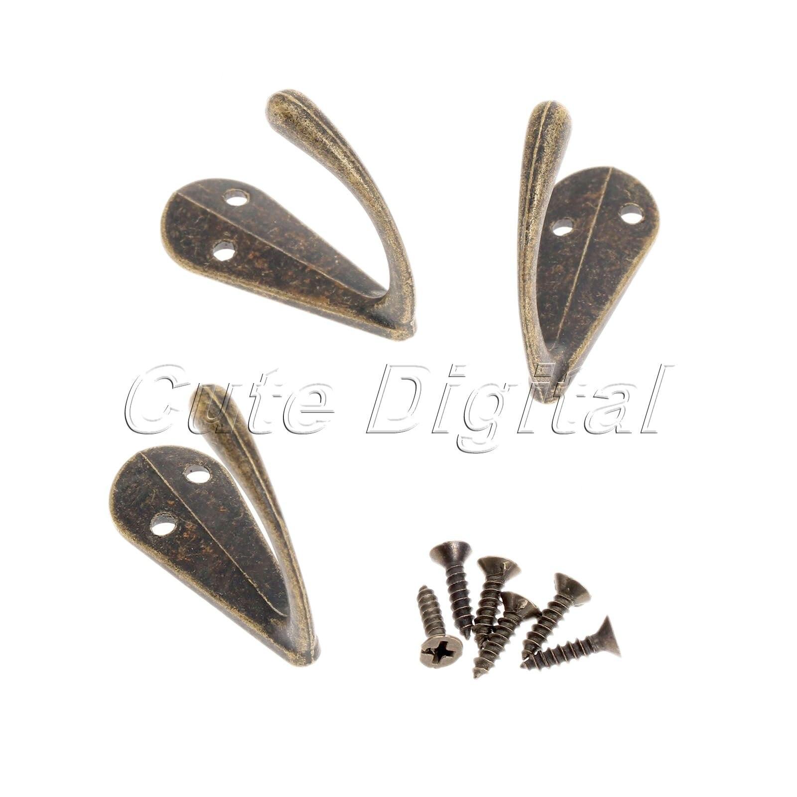 10 x Antique Bronze  Style Coat Clothes Hook Zinc Metal Hanger With Screws